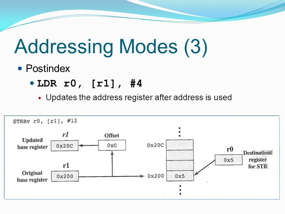 Addressing Modes (3) LDR r0, [r1], #4 Postindex